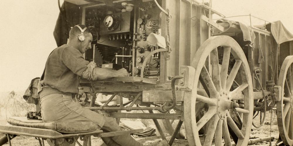 Man operating a Wireless Radio