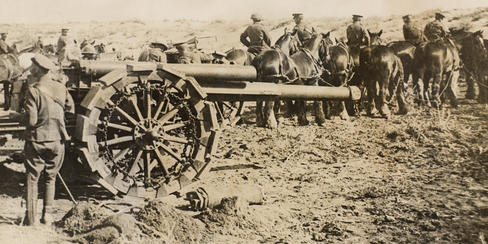 Horses moving a Howitzer - It took a team of ten horses to move one howitzer