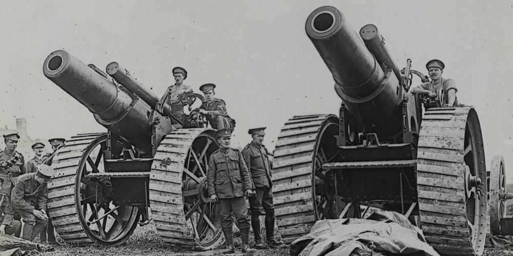 Guns at the Front - These 8-inch howitzers had a range of about 12,300 yards (11.24 km), and fired a 200-lb (90.8kg) shell.