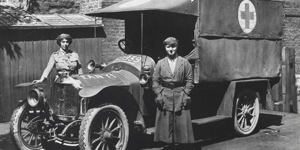 FANY Drivers standing in front of their ambulance. FANY stood for First Aid Nursing Yeomanry. Soldiers said it stood for First ANYwhere.