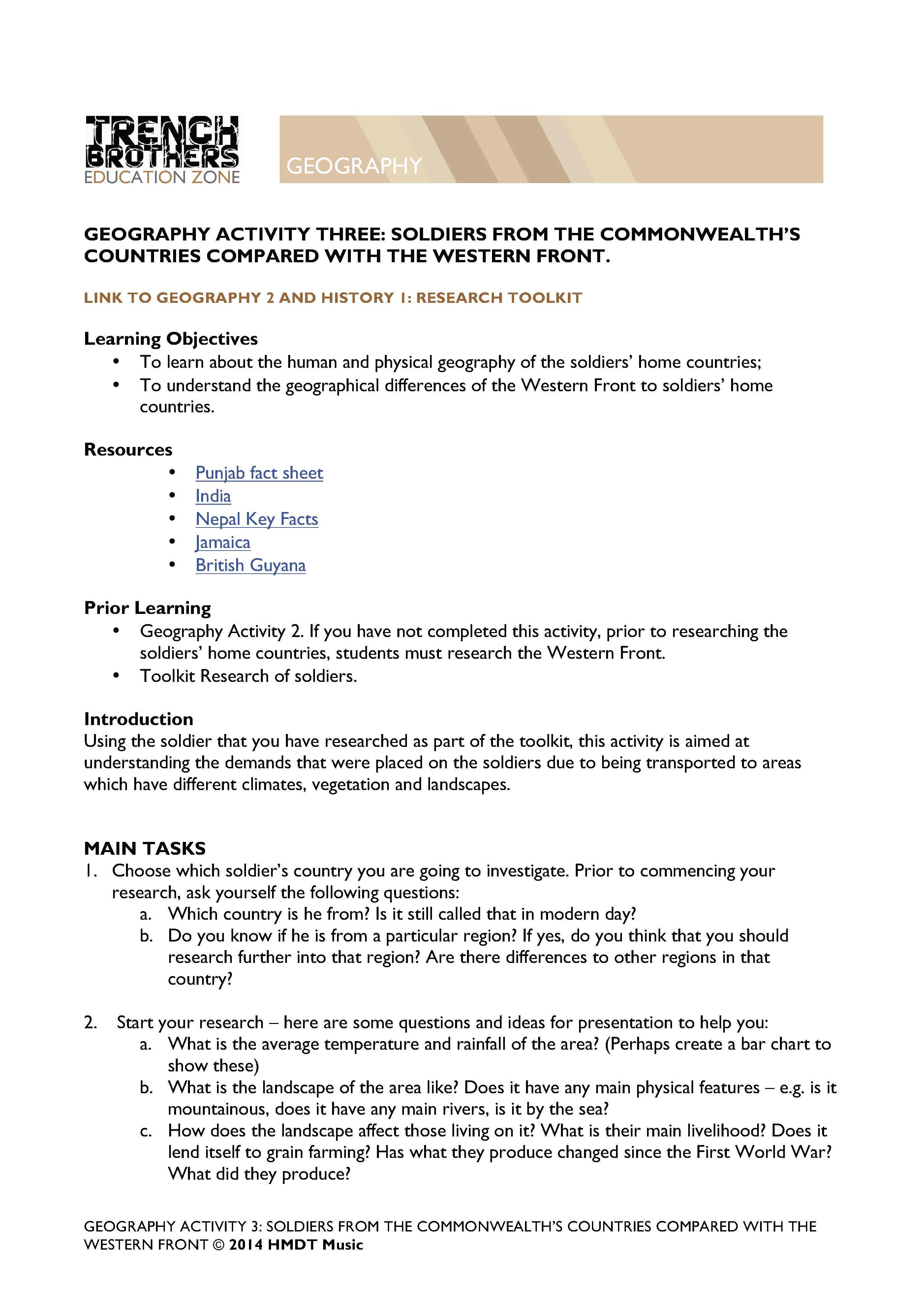 Worksheets Physical Geography Worksheets 6 geography trenchbrothers teaching resources learn about the human and physical of commonwealth soldiers home countries geographical differences between them weste